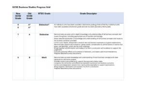thumbnail of BTEC Business Progress Grid