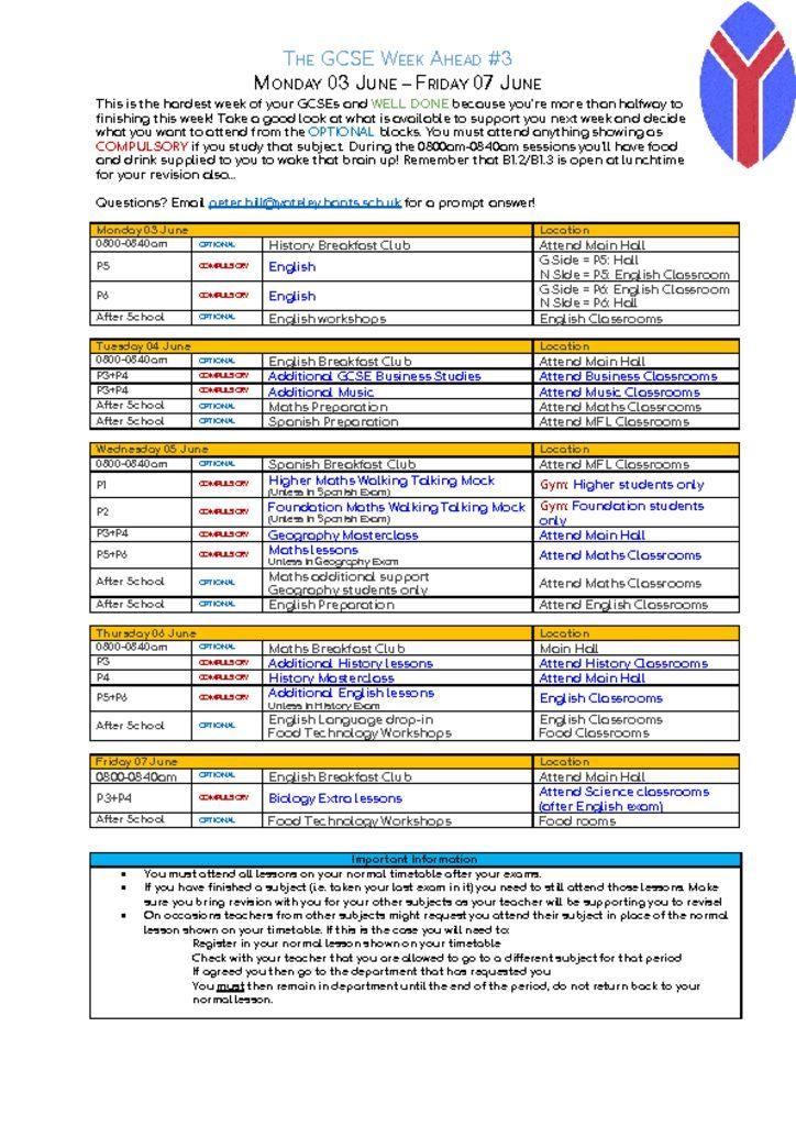 thumbnail of GCSE Week ahead – Monday 03 June – Friday 07 June