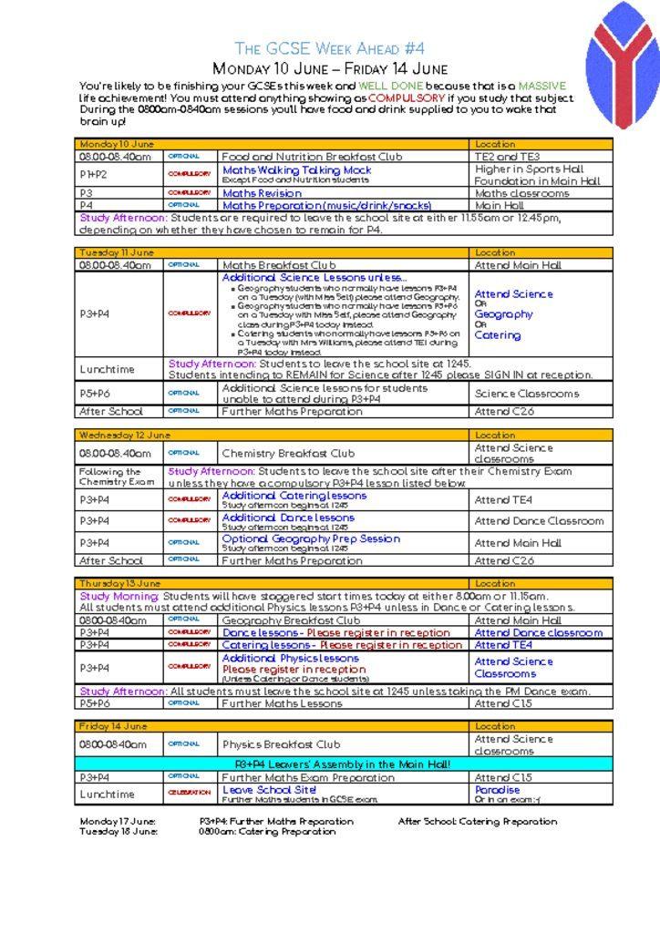 thumbnail of GCSE Week ahead – Monday 10 June – Friday 14 June