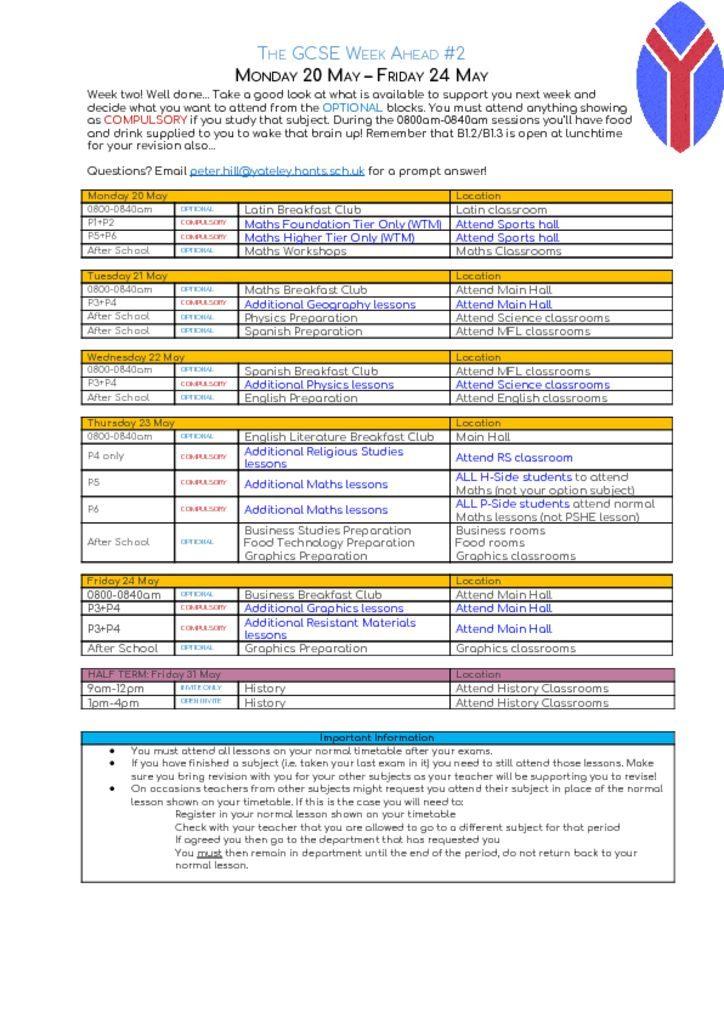 thumbnail of GCSE Week ahead – Monday 20 May – Friday 24 May