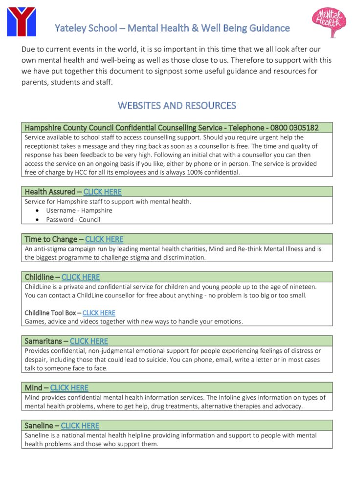 thumbnail of Mental Health and Wellbeing Information