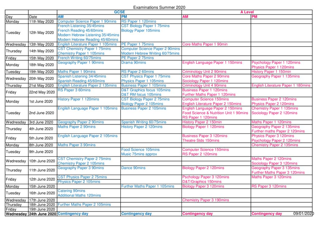 thumbnail of Provisional Summer 2020 timetable – Updated