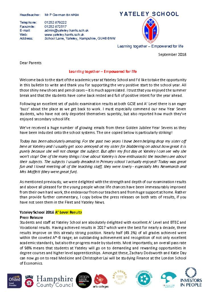 thumbnail of Welcome Back Letter Parents – Sept 18