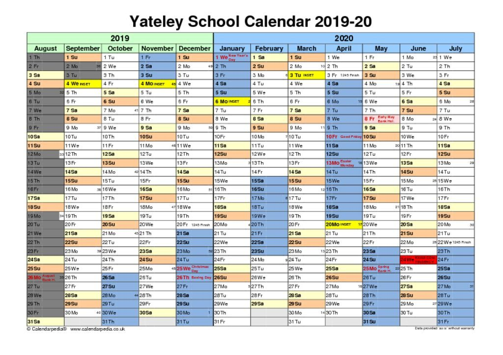 thumbnail of Yateley School Calendar