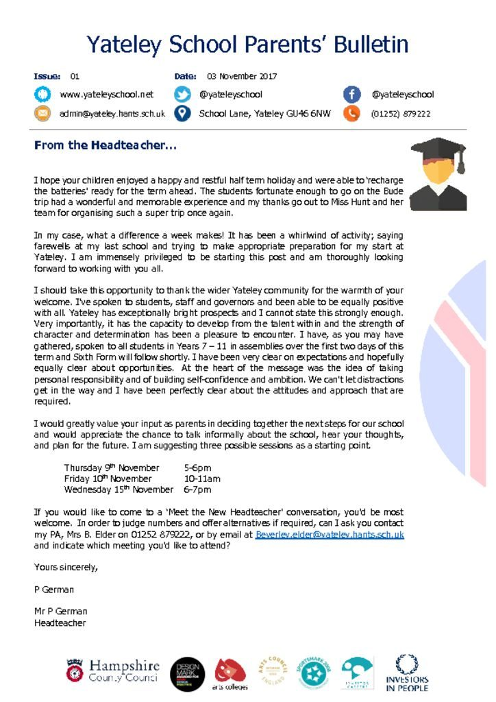 thumbnail of Yateley School Newsletter 01 03-11-17
