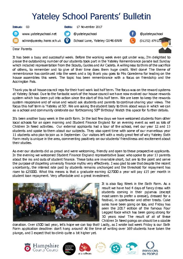 thumbnail of Yateley School Newsletter 03 17-11-17