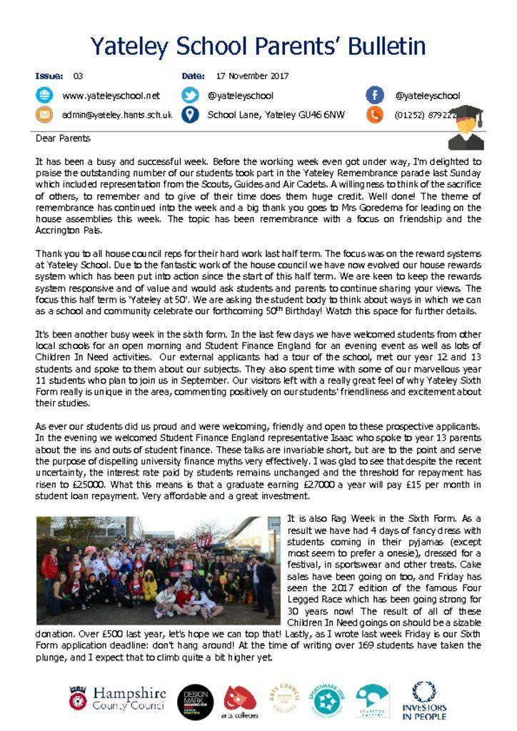 thumbnail of Yateley School Newsletter 03 17-11-17