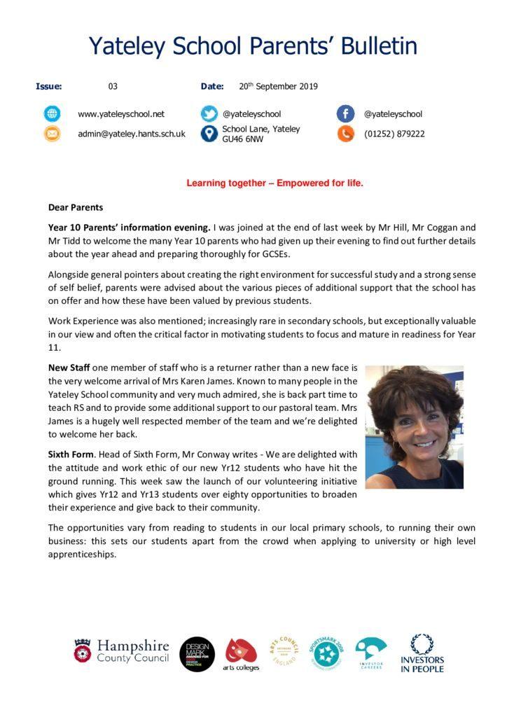 thumbnail of Yateley School Newsletter 03 20-09-19