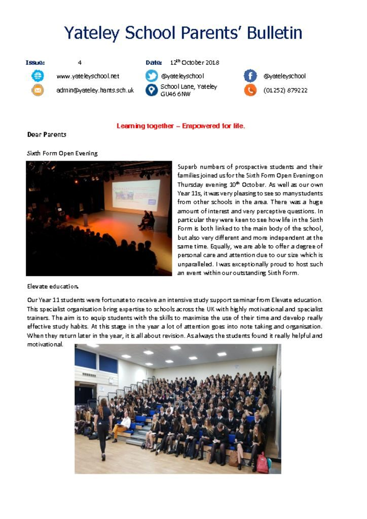 thumbnail of Yateley School Newsletter 04 12-10-18