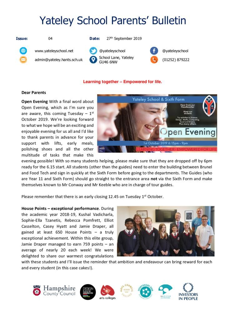 thumbnail of Yateley School Newsletter 04 27-09-19