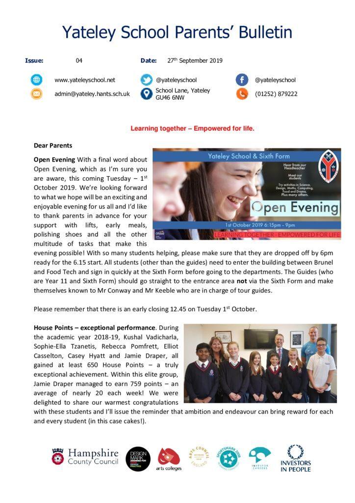 thumbnail of Yateley School Newsletter 04 27-09-19