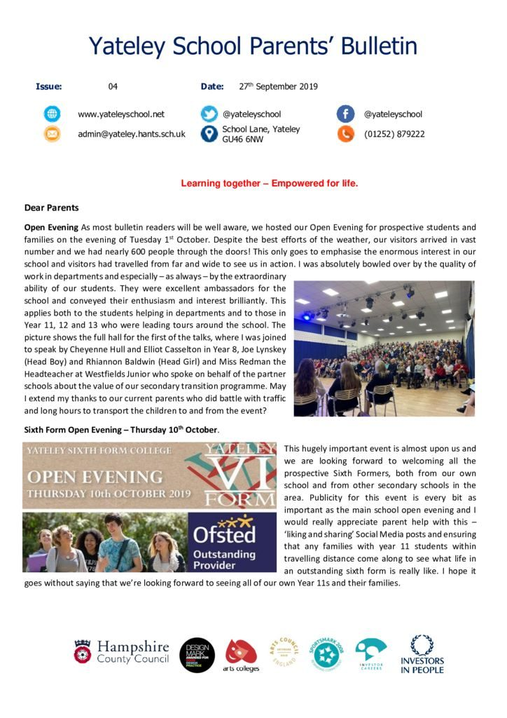 thumbnail of Yateley School Newsletter 05 04-10-19