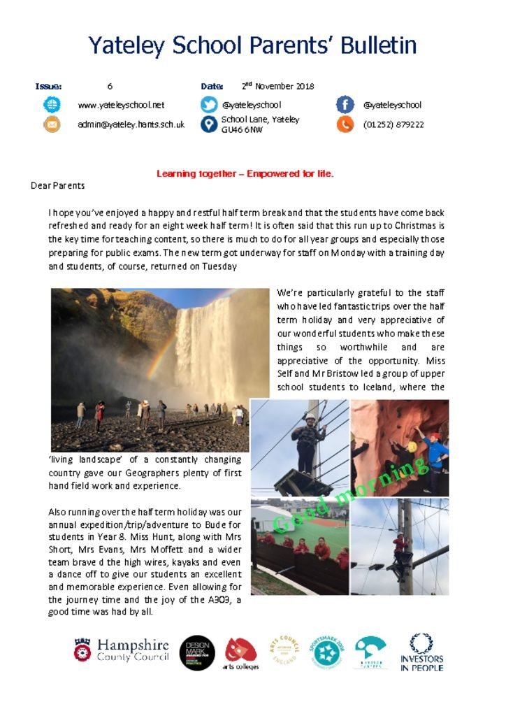 thumbnail of Yateley School Newsletter 06 02-11-18
