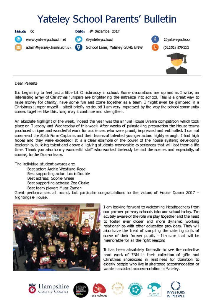thumbnail of Yateley School Newsletter 06 08-12-17