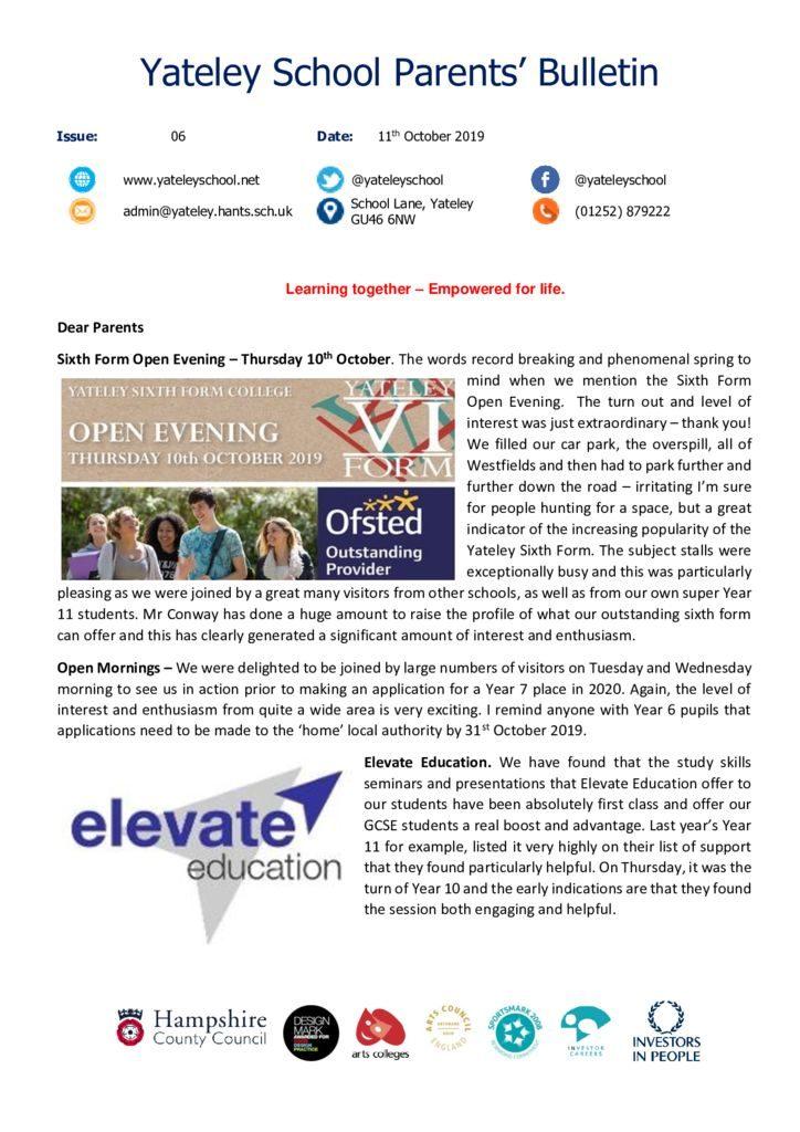 thumbnail of Yateley School Newsletter 06 11-10-19