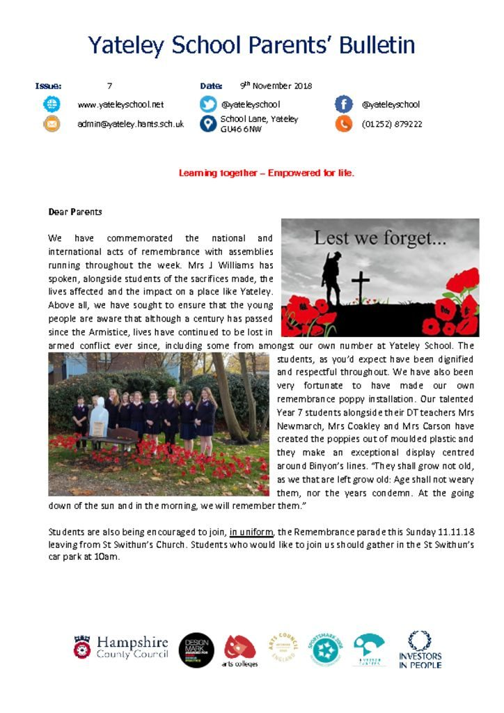 thumbnail of Yateley School Newsletter 07 09-11-18