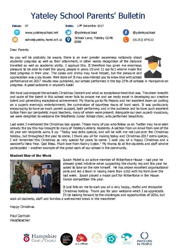thumbnail of Yateley School Newsletter 07 15-12-17