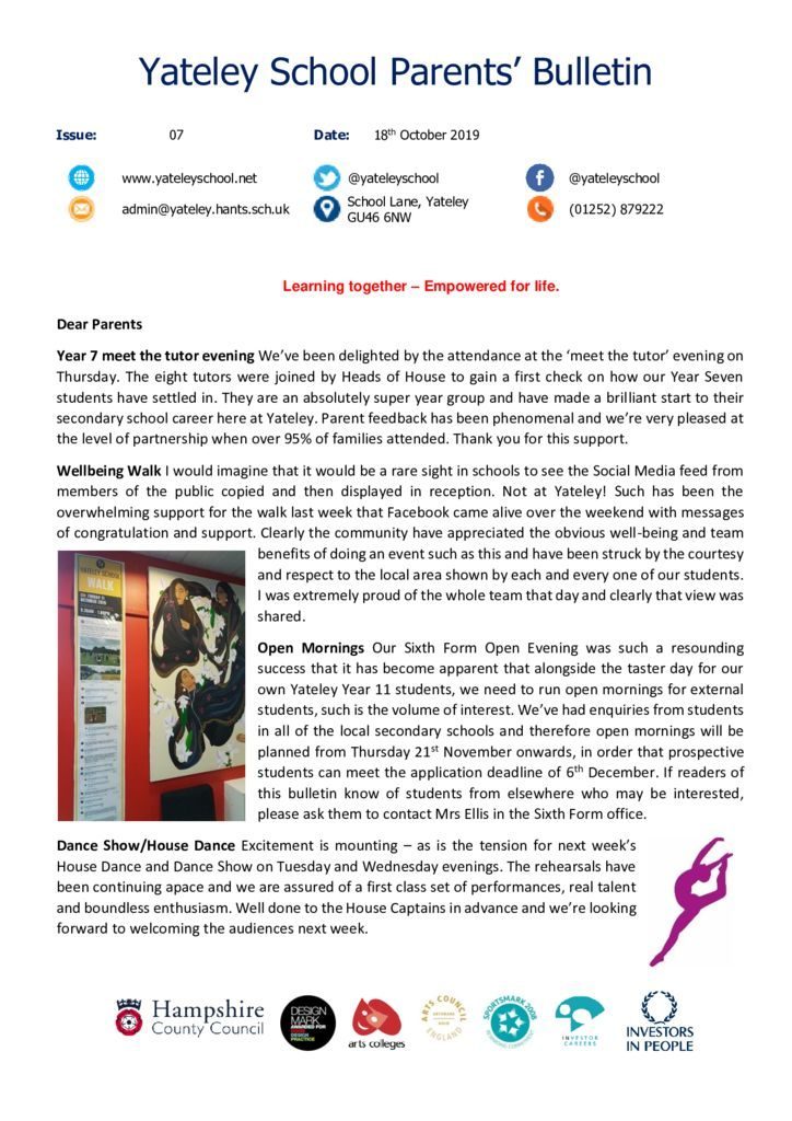 thumbnail of Yateley School Newsletter 07 18-10-19