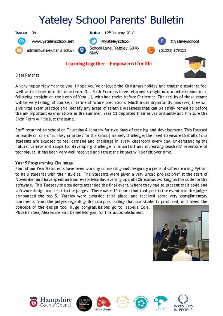 thumbnail of Yateley School Newsletter 08 12-01-18
