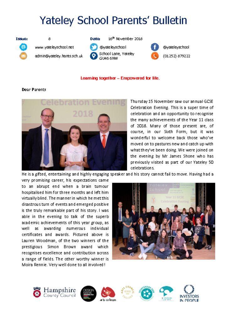 thumbnail of Yateley School Newsletter 08 16-11-18