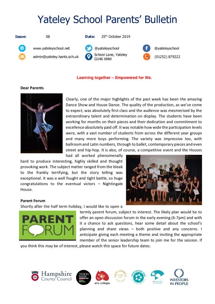 thumbnail of Yateley School Newsletter 08 25-10-19