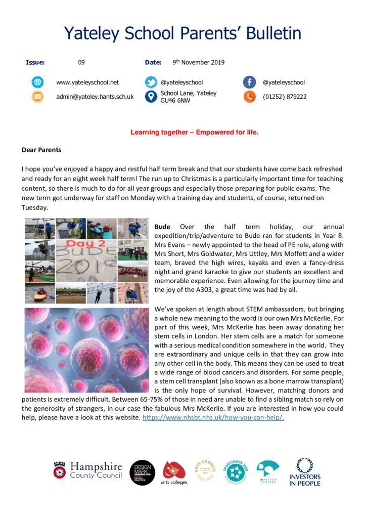 thumbnail of Yateley School Newsletter 09 08-11-19