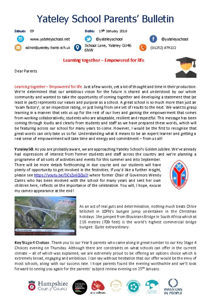 thumbnail of Yateley School Newsletter 09 19-01-18