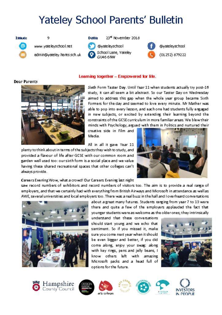 thumbnail of Yateley School Newsletter 09 23-11-18