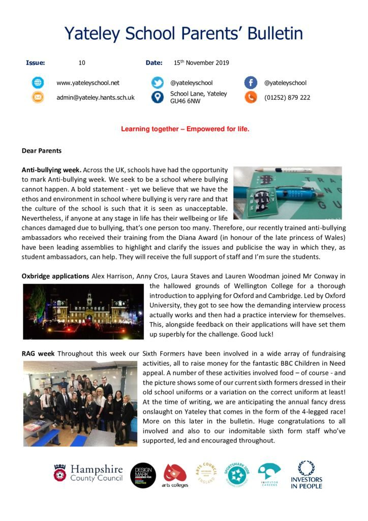 thumbnail of Yateley School Newsletter 10 15-11-19
