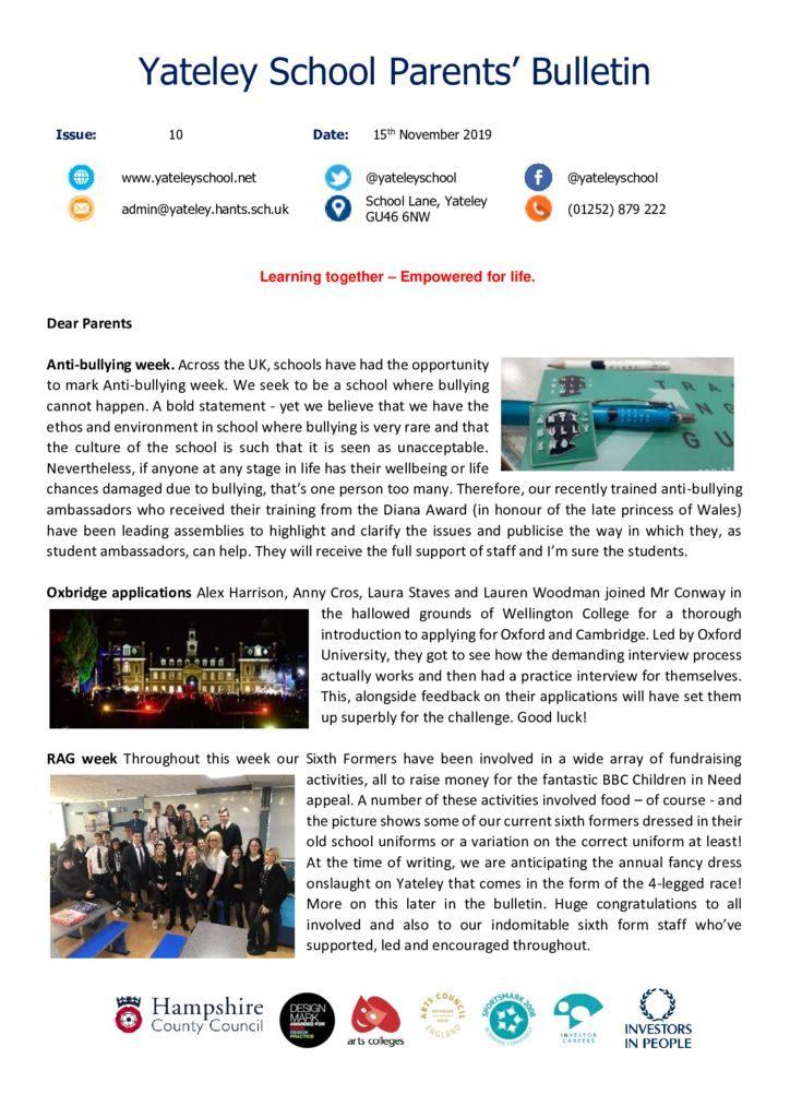 thumbnail of Yateley School Newsletter 10 15-11-19