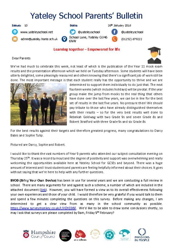 thumbnail of Yateley School Newsletter 10 26-01-18