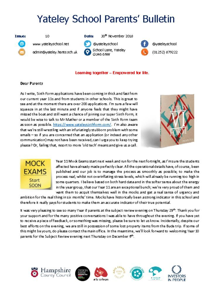 thumbnail of Yateley School Newsletter 10 30-11-18