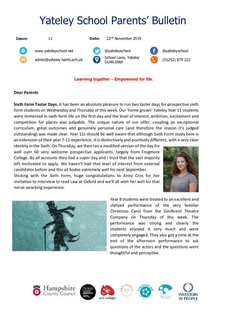 thumbnail of Yateley School Newsletter 11 22-11-19