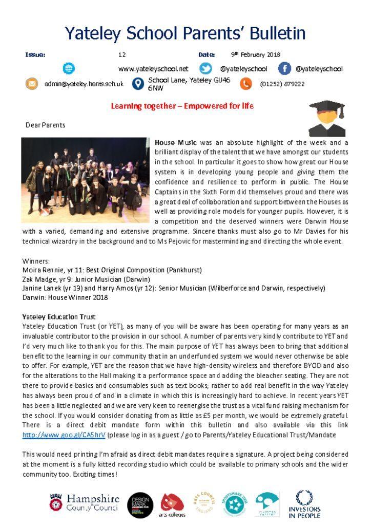 thumbnail of Yateley School Newsletter 12 09-02-18