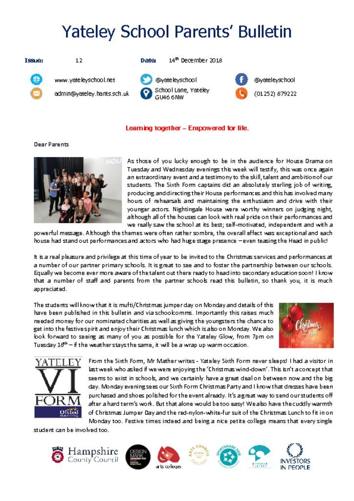 thumbnail of Yateley School Newsletter 12 14-12-18