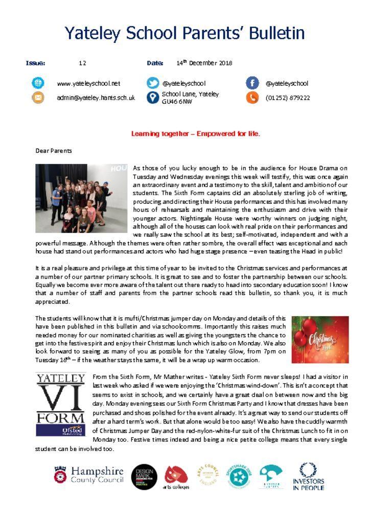 thumbnail of Yateley School Newsletter 12 14-12-18