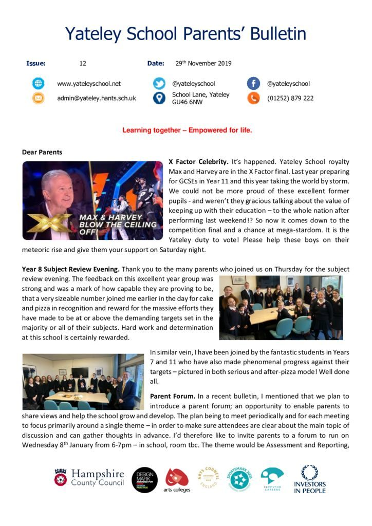 thumbnail of Yateley School Newsletter 12 29-11-19