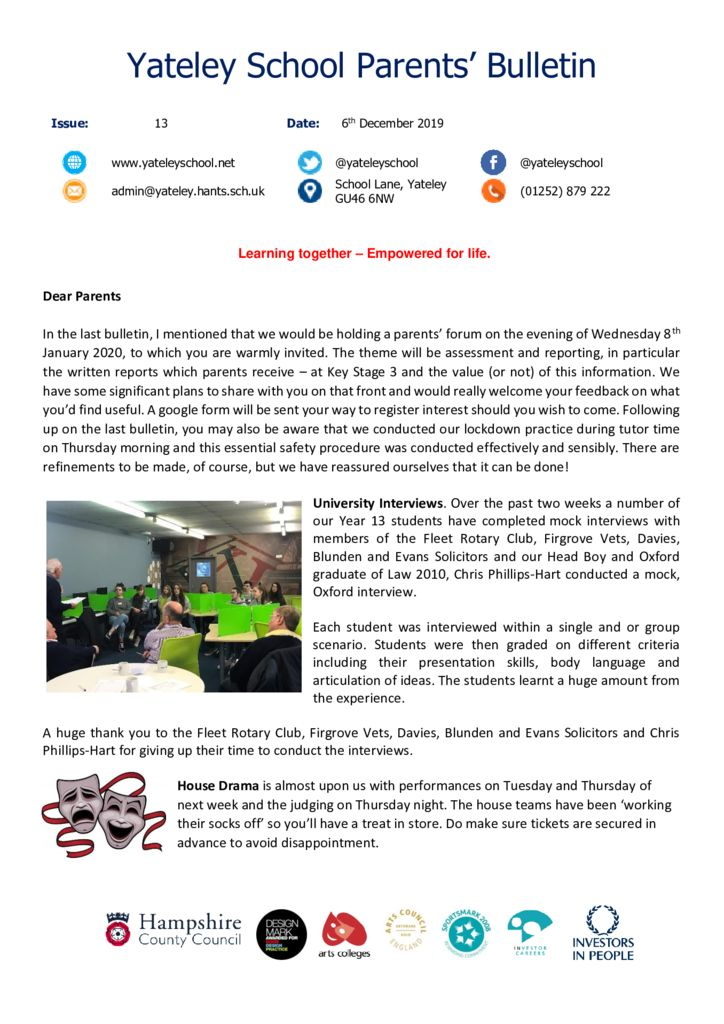 thumbnail of Yateley School Newsletter 13 06-12-19
