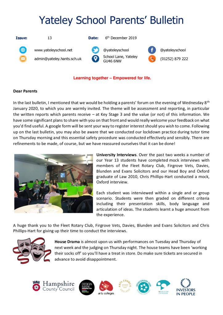thumbnail of Yateley School Newsletter 13 06-12-19