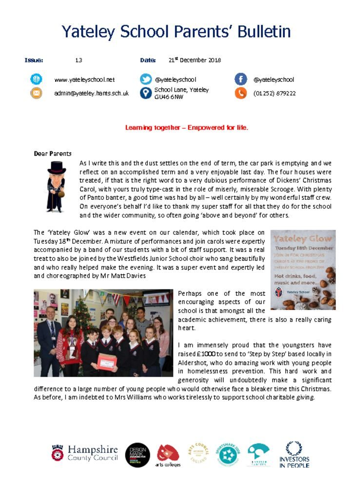 thumbnail of Yateley School Newsletter 13 21-12-18