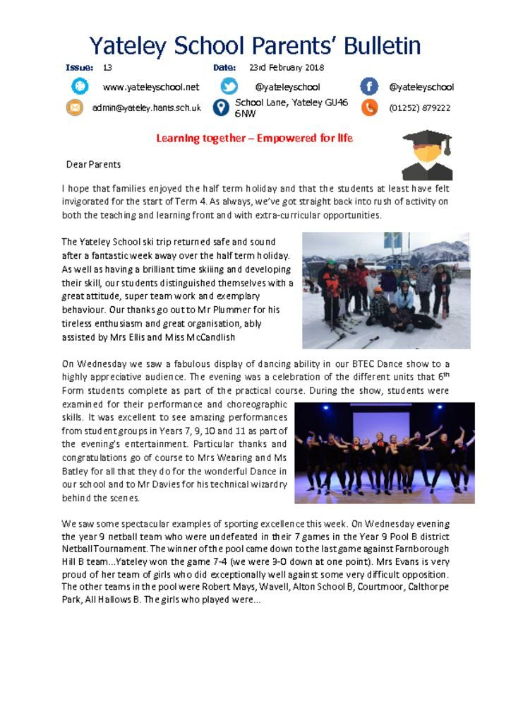 thumbnail of Yateley School Newsletter 13 23-02-18