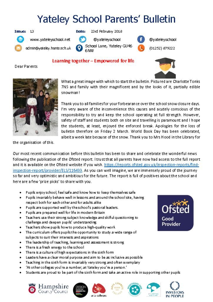 thumbnail of Yateley School Newsletter 14 09-03-18
