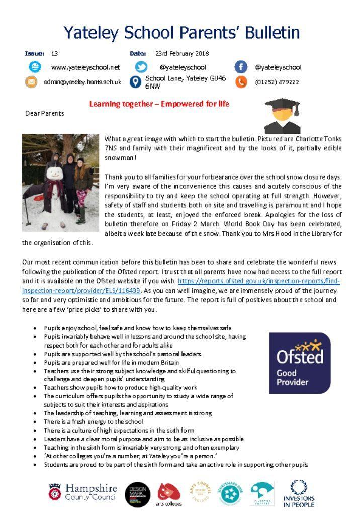thumbnail of Yateley School Newsletter 14 09-03-18