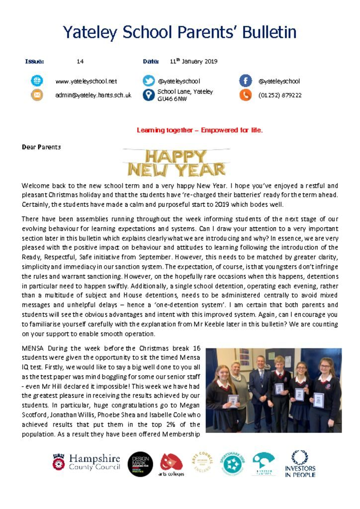 thumbnail of Yateley School Newsletter 14 11-01-19