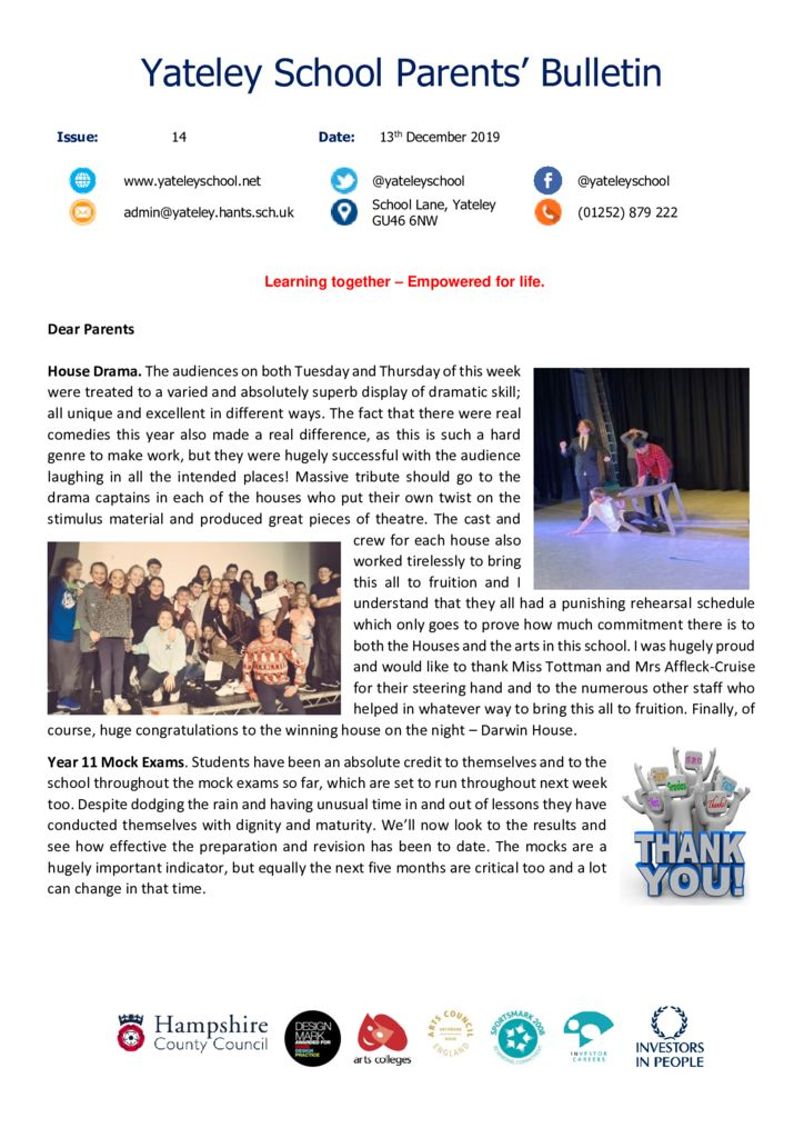 thumbnail of Yateley School Newsletter 14 13-12-19