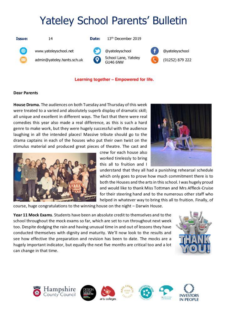 thumbnail of Yateley School Newsletter 14 13-12-19