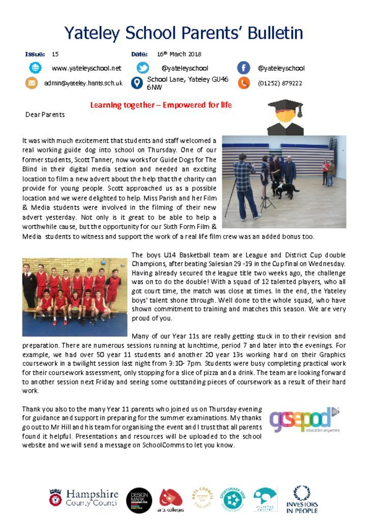thumbnail of Yateley School Newsletter 15 17-03-18