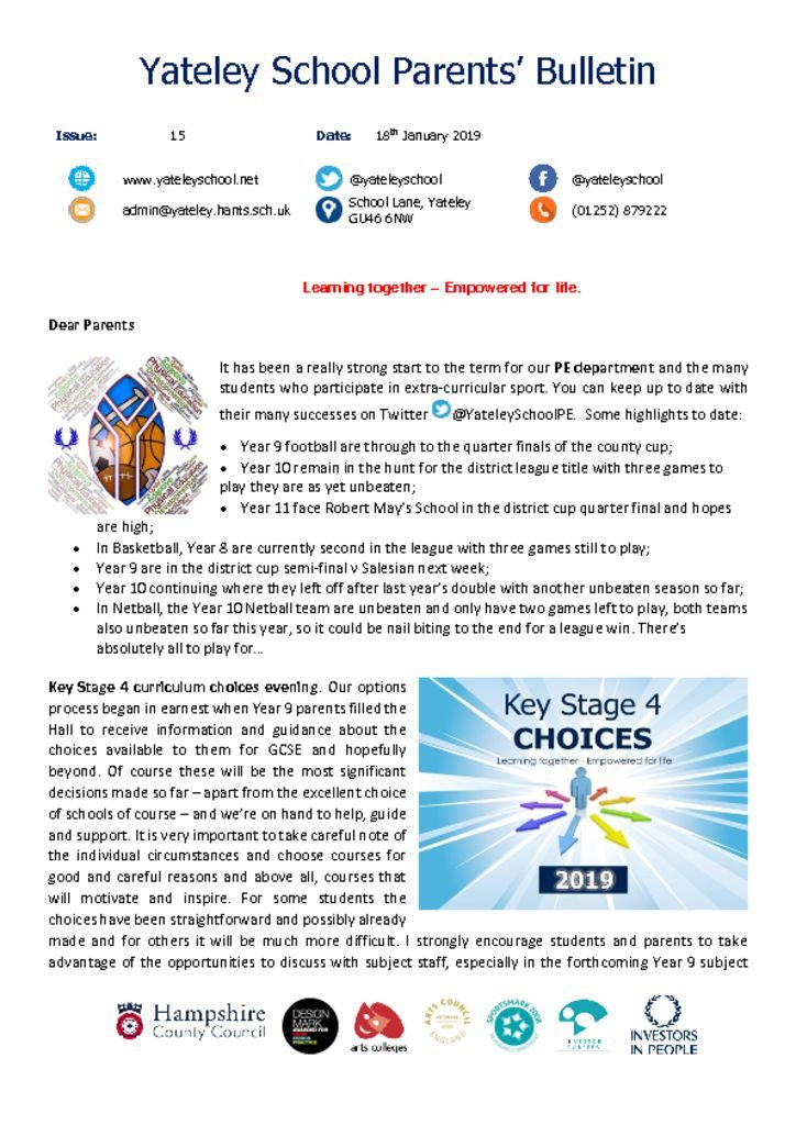 thumbnail of Yateley School Newsletter 15 18-01-19