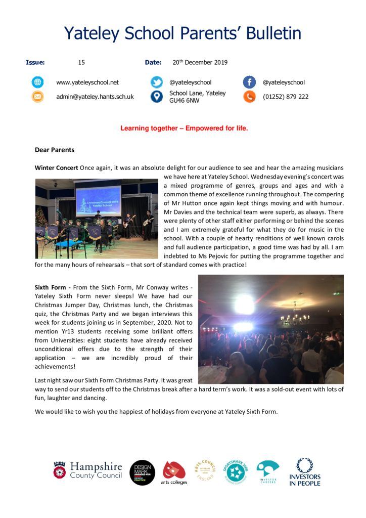 thumbnail of Yateley School Newsletter 15 20-12-19