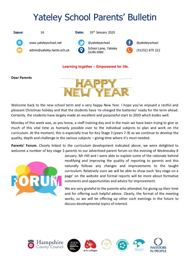 thumbnail of Yateley School Newsletter 16 10-01-20